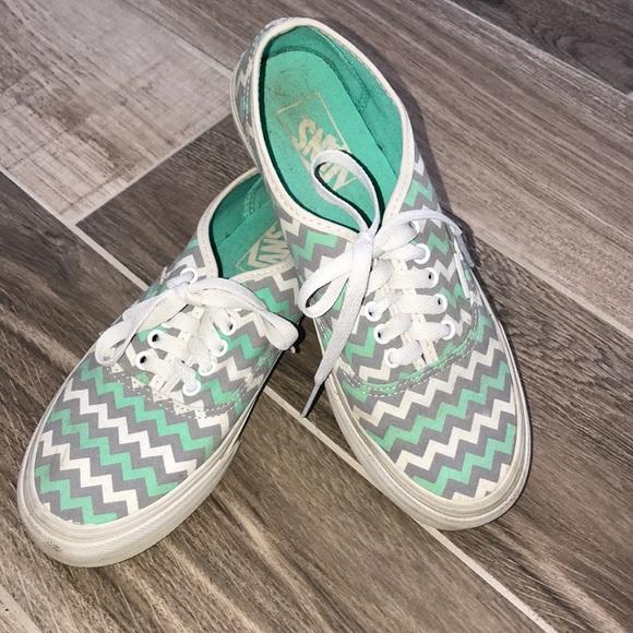 Vans Shoes | Chevron Vans Mint Gray